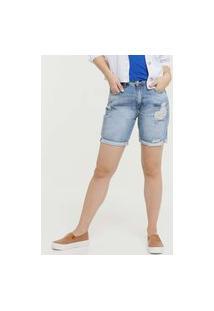 Bermuda Feminina Jeans Barra Desfiada Disparate