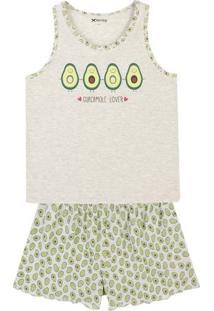 Pijama Feminino Em Malha De Algodão Com Detalhe Na Barra Do Shorts