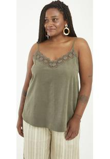 Regata Liso Com Renda No Decote Curve & Plus Size