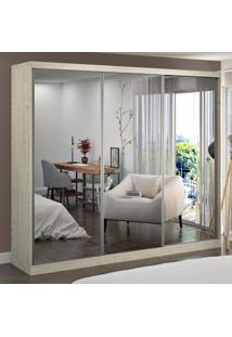 Guarda-Roupa Casal 3 Portas Com 3 Espelhos 100% Mdf 7320E3 Marfim Areia - Foscarini