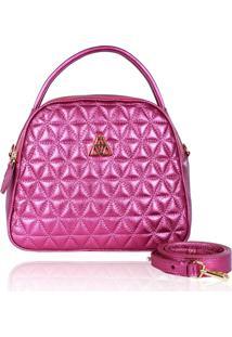 Bolsa Transversal Campezzo Couro Pink Metalizado Vanessa