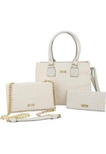 Kit Bolsas Handbag Clutch E Carteira Feminina Prática Casual - Feminino-Creme