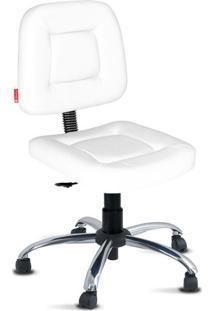 Cadeira Escritória Branca Giratória Cromada