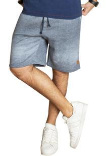 Bermuda Moletom Fleece JeansAzul