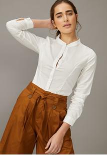 Body Amaro Tipo Camisa Manga Longa Off-White - Branco - Feminino - Dafiti