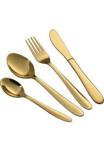 Faqueiro Le Dubai Gold Em Aço Inox Dourado Com 16 Peças