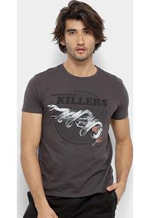 Camiseta Ellus 2Nd Floor Estampa Cobra Masculina - Masculino-Grafite
