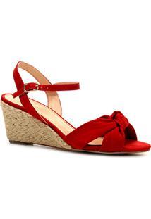 Sandália Anabela Shoestock Nobuck Nó Feminina - Feminino-Vermelho