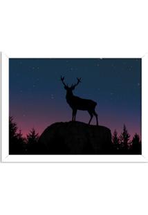 Quadro Decorativo Cervo No Bosque Branco - Grande