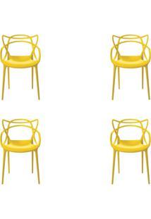 Kit 4 Cadeiras Decorativas Sala E Cozinha Feliti (Pp) Amarela - Gran Belo - Amarelo - Dafiti