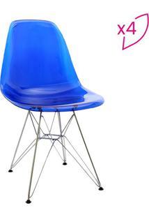 Jogo De Cadeiras Eames Dkr- Azul & Prateada- 4Pã§S