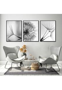 Quadro 60X120Cm Dente De Leão Flores Preto Branco Moldura Filete Canvas - Oppen House