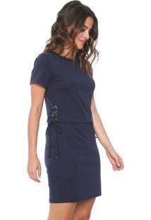 Vestido Facinelli By Mooncity Curto Amarração Azul-Marinho