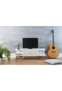 Rack Para Tv Baixo Stills Branco Com Jatobá 108X33,6X35,5Cm
