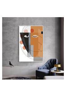 Quadro 90X60Cm Abstrato Geométrico Oriental Masuku Moldura Branca Com Vidro