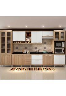 Cozinha Compacta Com Tampo 8 Peças 5807-S4T Sicília - Multimóveis - Argila Acetinado / Branco Acetinado