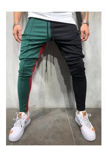 Calça Masculina Moletom Max Slim Duas Cores - Preto E Verde