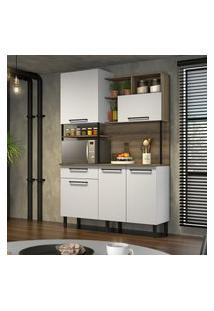 Cozinha Compacta Itatiaia Bali 5 Portas Branco Matte E Castanho