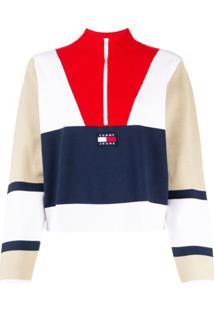 Tommy Jeans Suéter Color Block Com Zíper - Branco