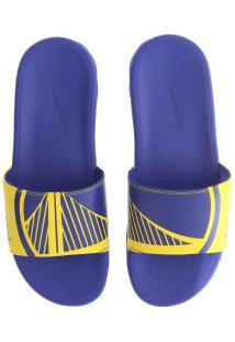 Chinelo Nike Nba Benassi Solarsoft - Slide - Masculino - Azul/Amarelo