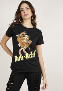 Blusa Feminina Scooby Doo Manga Curta Decote Redondo Preta