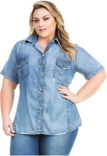Camisa Confidencial Extra Plus Size Jeans Com Abertura Nas Costas Feminina - Feminino-Azul