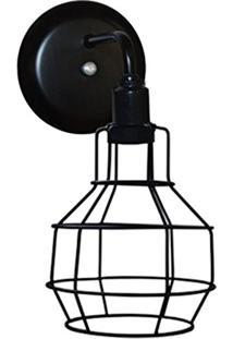 Arandela Aramado Modelo Pêra - 16Cm X 13Cm - Preto