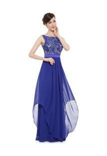 Vestido Longo De Festa Com Detalhes Rendados E Decote Em V Nas Costas - Azul