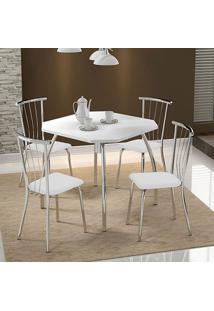 Mesa 1504 Branca Cromada Com 4 Cadeiras 154 Branca Carraro