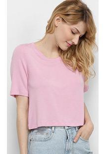 Blusa Cantão Cropped Conforto Feminina - Feminino-Rosa