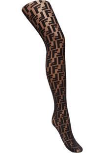 Fendi Meia Calça Com Bordado De Logo - Preto