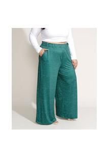 Calça Feminina Plus Size Mindset Pantalona Cintura Alta Estampada De Poá Com Bolsos Verde