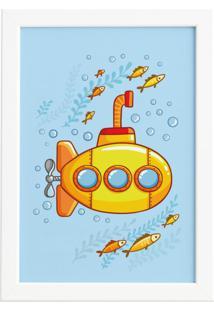 Quadro Infantil Submarino Amarelo Moldura Branca 22X32Cm