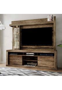 Estante Home Theater Para Tv Até 50 Polegadas 2 Portas Com Espelho, Vidro E Led Flex Color Maracá Canela Rústico/Canela Rústico/Dunas - Colibri