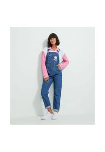 Macacão Jeans Com Bolso Frontal E Estampa Hello Kitty