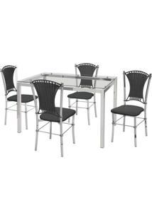 Conjunto De Mesa Com 4 Cadeiras Natália Corino Preto E Cromado - Única