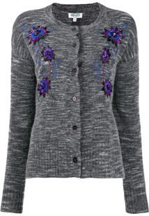 Kenzo Cardigan Com Bordado Floral - Cinza