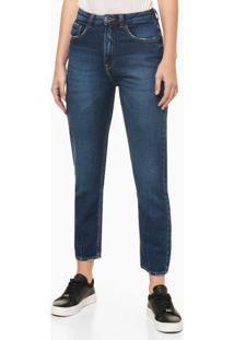 Calça Jeans Feminina Balloon Pence Na Barra Cintura Alta Azul Marinho Calvin Klein - 36