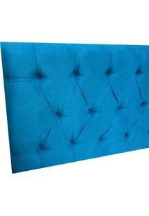 Cabeceira Estofada Paris Para Cama Box Casal Suede Azul Turquesa 1,40 M