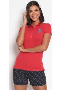 Polo Lisa Em Piqu㪠Com Bordado- Vermelha & Azulus Polo