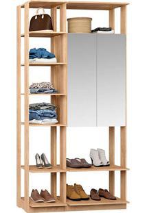 Closet Modulado 1 Armário C/ Espelho Clothes 9007 – Be Mobliário - Carvalho Mel