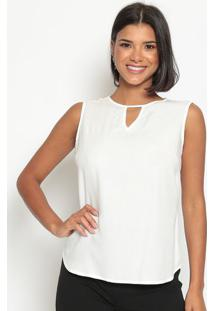 Blusa Lisa Com Recorte Vazado- Off White- Vip Reservvip Reserva