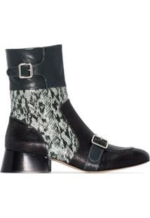 Chloé Cheryl 35Mm Snake-Effect Leather Ankle Boots - Azul