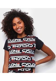 Camiseta Cyclone Baby Look Fashion Feminina - Feminino-Preto