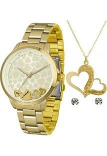 Kit Relógio Lince Hearth Analógico + Colar + Brinco Feminino - Feminino-Dourado
