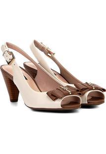 Peep Toe Chanel Jorge Bischoff Texturizado Salto Cone Feminino - Feminino-Bege
