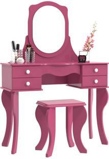 Penteadeira Princesa Com Espelho Pink