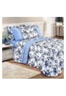 Cobre Leito Estampado Floral King Size Azul 3 Peças 2,80M X 2,70M Com Porta Travesseiro
