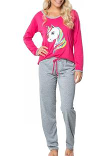 Pijama Click Chique Manga Longa Em Malha Estampada Rosa