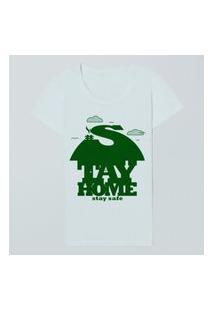 Camiseta Fem Stay Home Stay Safe Casual Reserva Branco